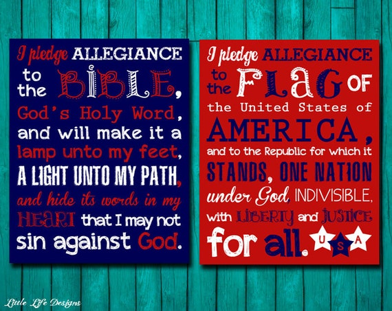 Pledge of Allegiance & Pledge to the Bible. Christian