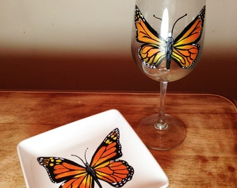 Monarch Butterfly Wine Glass and App Plate Set - Hand Painted Porcelain Plate and 18 oz Wine Glass