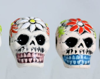 Ceramic Sugar Skull beads. x 4  Crafts, Jewellery Making Projects LOT = X 4 BEADS