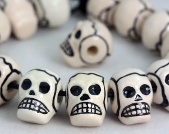 Glazed Ceramic  Skull beads. Crafts, Jewellery Making Projects x 10
