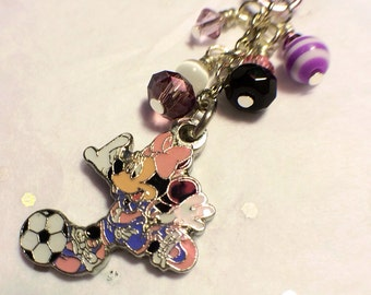 Soccer Minnie Mouse cell phone charm, dust plug charm