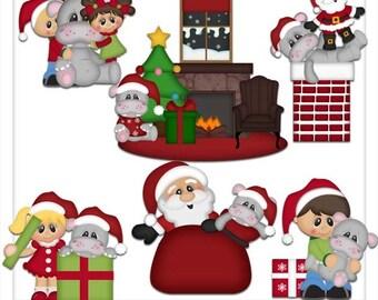 DIGITAL SCRAPBOOKING CLIPART - I Want A Hippopotamus For Christmas