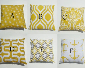 """One Slub Corn Yellow Pillow Cases For Size 16x16"""" Pillow Form/Insert, Floral, Anchors, Ozborne, Annie, Embrace, Emily"""