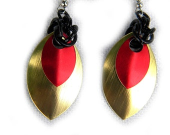 Red and Gold Scalemail Earrings Multicolor Earrings Large Earrings Dangle Earrings Scale Earrings Gold Earrings Red Earrings Bold Earring
