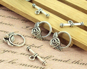 30 sets of Antiqued bronze or silver fancy toggle clasps 20×15mm