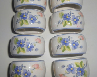 Eight Vintage, Porcelain, Made In Japan, Napkin Rings, Blue, Green, Pink