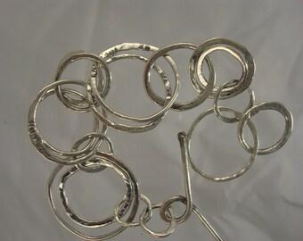 Sterling Silver Organic Circle Link Bracelet