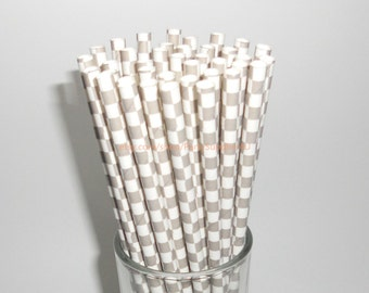 50 Gray and White Checkered Paper Straws with Free Printable Flags