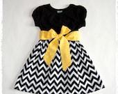 Black & White chevron dress. Toddler girls dress. Girls chevron dress.Yellow, Red, Pink sash. Black chevron dress. Spring Summer Fall Winter