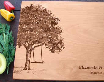 Personalized Cutting Board with Tree and Swing Birds Couple's Anniversary Gift Wedding Present Bridal Shower Gift Mother's Day Present