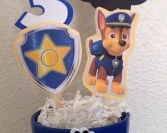 Paw Patrol Chase Inspired Centerpiece STICKS ONLY