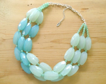 Ultimate Chunky Mint Necklace - Big Mint Statement Necklace - Muti strand Seafoam Mint necklace