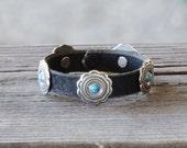 SALE! / Leather Bracelet, Conchos,  turquoise studs / Soft, Black, Latigo leather / Antiqued Nickel bezels / Turquoise rivets / snap closure