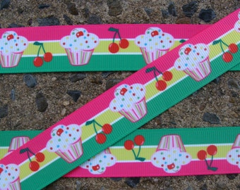 "3 yards cherry Cup Cake Ribbon Cherry Cup Cake Printed Ribbon 7/8"" Hair Bow Ribbon pink and green ribbon"