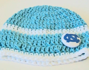 Light Blue and White North Carolina Inspired Hand Crocheted Baby and Childrens Beanie Hat Great Photo Prop 5 Sizes Available