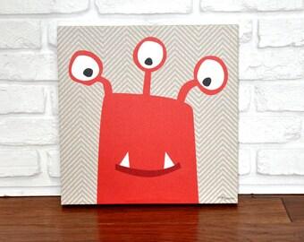 Monster Mugs Red - Canvas Wall Art