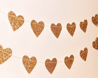 Paper Heart Garland. Gold Glitter Hearts - Wedding - Engagement - 21st - Sweet 16 - Wall Decor - Table Decoration.