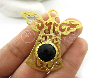 Angel Pendant with Onyx Black Jade Stone, 22K Gold Plated Brass Bezel Set Angel Necklace, Turkish Jewelry