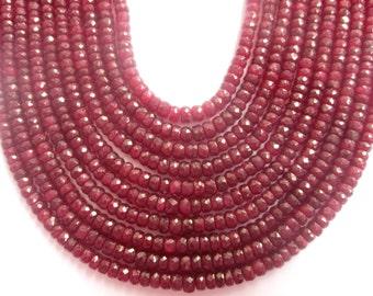 Facetate ruby rondelles necklace