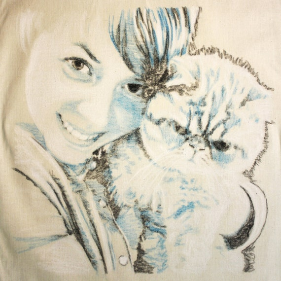 Custom portrait drawing in pastel on fabric from photo