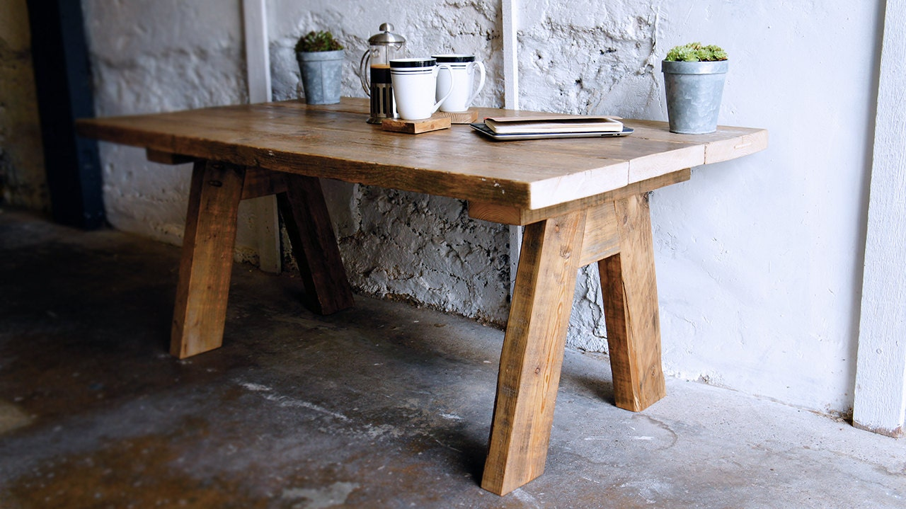 Reclaimed Wood Farmhouse Coffee Table by ReviveJoinery on Etsy