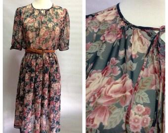 Vtg Green Floral Sheer Chiffon Dress/ 80s/ small to medium