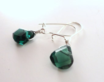 Green Apatite Earrings, Dainty Green Earrings, Tiny Green Earrings, Green Stone Earrings, Dark Green Earrings, Emerald Green, Green Teardrop
