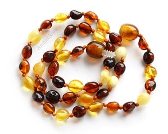 20 units Olive Teething Amber necklace for Children. Baby Amber jewelry, olive beads, multicolor Teething, Baby christening, 1661/1a