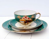 Reserved for Helaine. Vintage Moriyama Mori-Machi Handpainted Japanese Porcelain Trio Set - Lusterware Cup, Saucer and Cake Plate