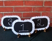 Wedding Table Numbers on Gold Easel  / Chalkboard Wedding Decoration / Rustic Chic Wedding Decor / Shabby Chic Wedding /  Lace Trimmed /12