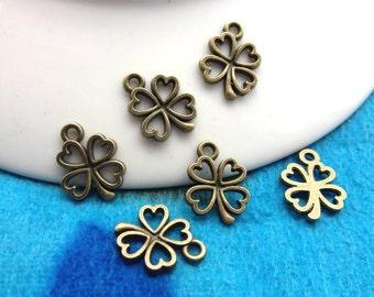 100pc Antique Bronze 14mm x 13mm clover charms