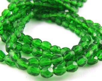 Green Emerald 4mm Facet Round Czech Glass Fire Polished Beads 50pc #237