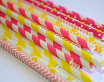 24 Yellow and Pink lemonade lemonaid chevron polka dot dotted graduation striped stripes paper straw first birthday party bridal baby shower