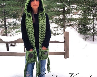 Oklahoma Green Hood Scarf with Hand Warmer Pockets