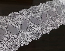 "VINTAGE-Style Off White Elastic Lace 5.9"" Bridal Stretch Lace Wedding Gloves Headbands Stretchy Lace Lingerie Sewing"