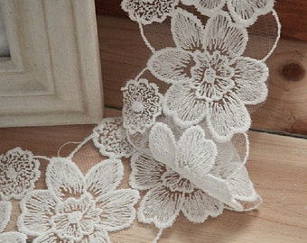 White Lace Trim, Embroidered Mesh Trim, Bridal Lace, Wedding Fabric Lace, 2 Yards