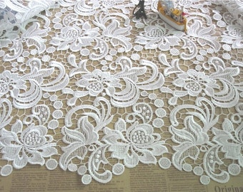 Guipure Lace Fabric, hollow out Lace Fabric, White 3D fabric, Women Gown Fabric, Bridal Dress Lace, Venice lace fabric by the yard