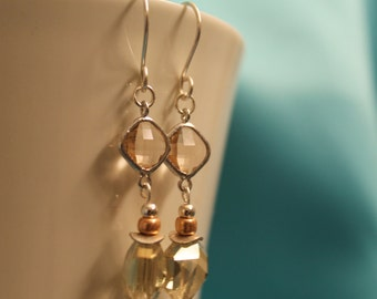 Peach and Soft Yellow Crystal Earrings