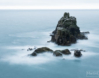 Rock formation in the sea off Land's End, Cornwall - Landscape photography - mounted print photograph 12 x 9