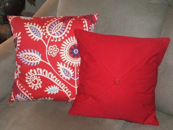 Bright Red Set of Two Decorative Pillow by PearBlossomCreations
