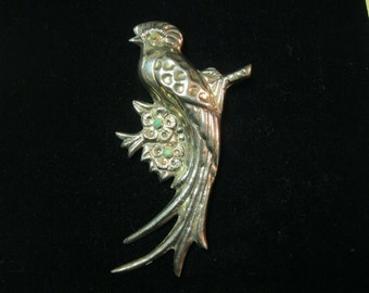 """1940s Repousee 4"""" MEXICO SILVER Bird Brooch with Turquoise"""