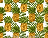 Pineapple and Palm Frond Pattern Repeat on White - Original Art download, pineapple printable paper