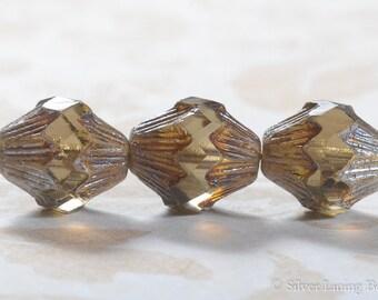 Hazel Acanthus (4) - Czech Glass Bead - 13x11mm - Carved Bicone