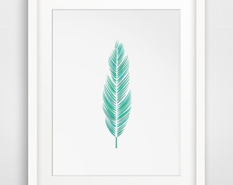Mint Feather Print, Mint Green Feather Art, Printable Feather Art, Downloadable Feather Print, Green, Mint, Pastel, Green Printable Wall Art