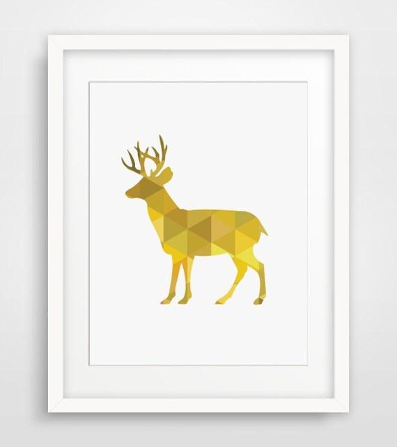 Geometric Purple Deer Wall Art Print Modern Poster Buck: Yellow Deer Yellow Geometric Deer Yellow Yellow Nursery