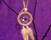 Dreamcatcher Keychain w/ Cockatiel Feathers- White and Grey, & Helps Rescued Pets