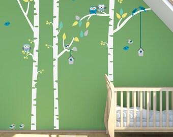 Birch Trees FABRIC Decal Nontoxic REUSABLE DECAL, 146