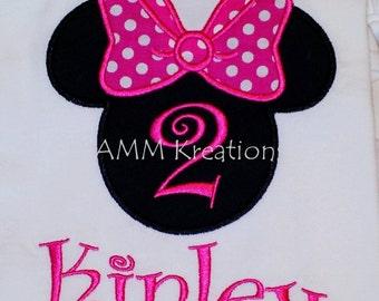 Minnie Mouse Birthday Shirt or Onesie Pink