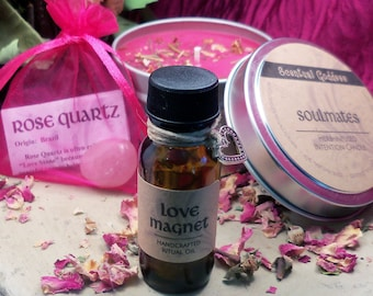 ATTRACT YOUR SOULMATE 3 pc Ritual Gift Set - Love Magnet Oil, Soulmates Herb-Infused Candle & Rose Quartz - Love Spell Magic Wicca Pagan