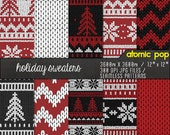 Instant Download // Black + Red Knit Sweater Holiday Digital Paper Pack// Seamless Tiles // Christmas snowflakes chevron Digital Scrapboking